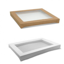 White and Brown Catering Tray Lid